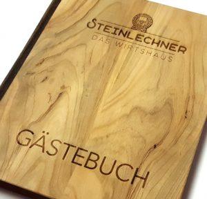 Gästebuch Steinlechner das Wirtshaus Holzbuch Holz mit Lasergravur Buchbinderei Stundner Salzburg 04