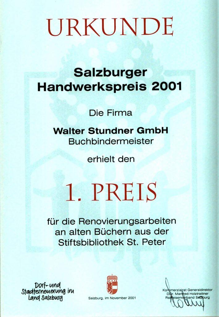 salzburger handwerkspreis 2001 zeitungsausschnitt buchbinderei stundner