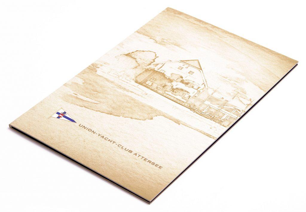 speisekarten union jacht club attersee weinkarten getraenkekarten hotolzubehoer gasthaus holzspeisekarten zirbenholz holz buchbinderei stundner